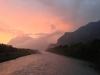 Im strömenden Regen am Dienstag Abend laufen statt Skaten, aber der Sonnenuntergang am Rhein...
